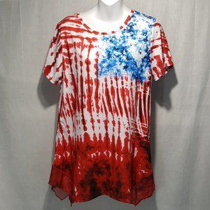 NEW 89th & Madison American Tie Dye Flag Tunic Med